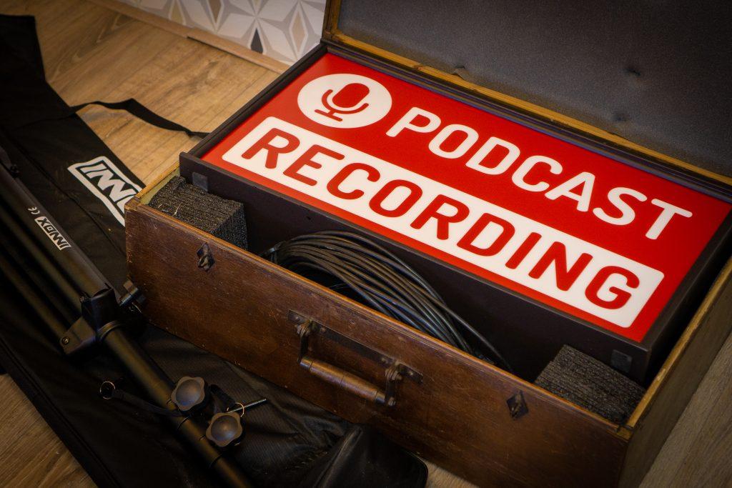 Podcast recording lightbox