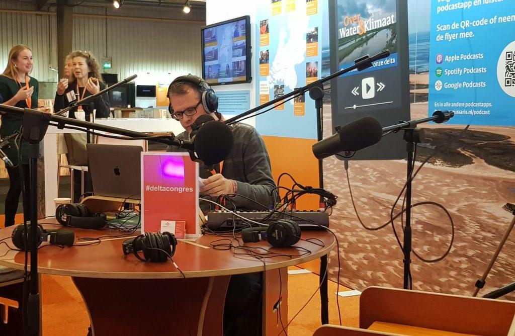 Hajo Magré in de podcaststudio op het Deltacongres 2019 in Goes